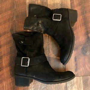DKNYC Black Leather Engineer Moto Boots